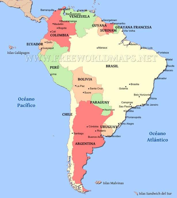 Mapa Político De Sudamérica.Mapa Politico De Sudamerica