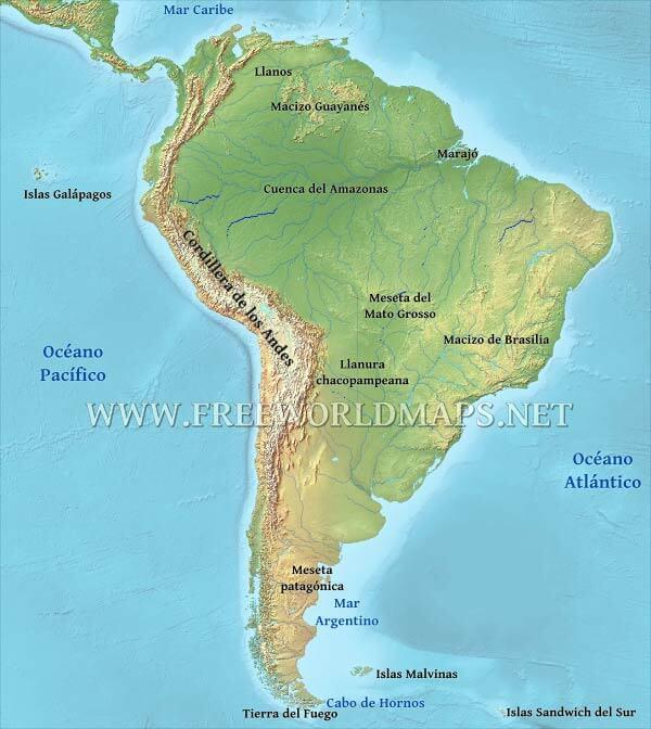Mapa Geografico De Sudamerica.Mapa Fisico De Sudamerica