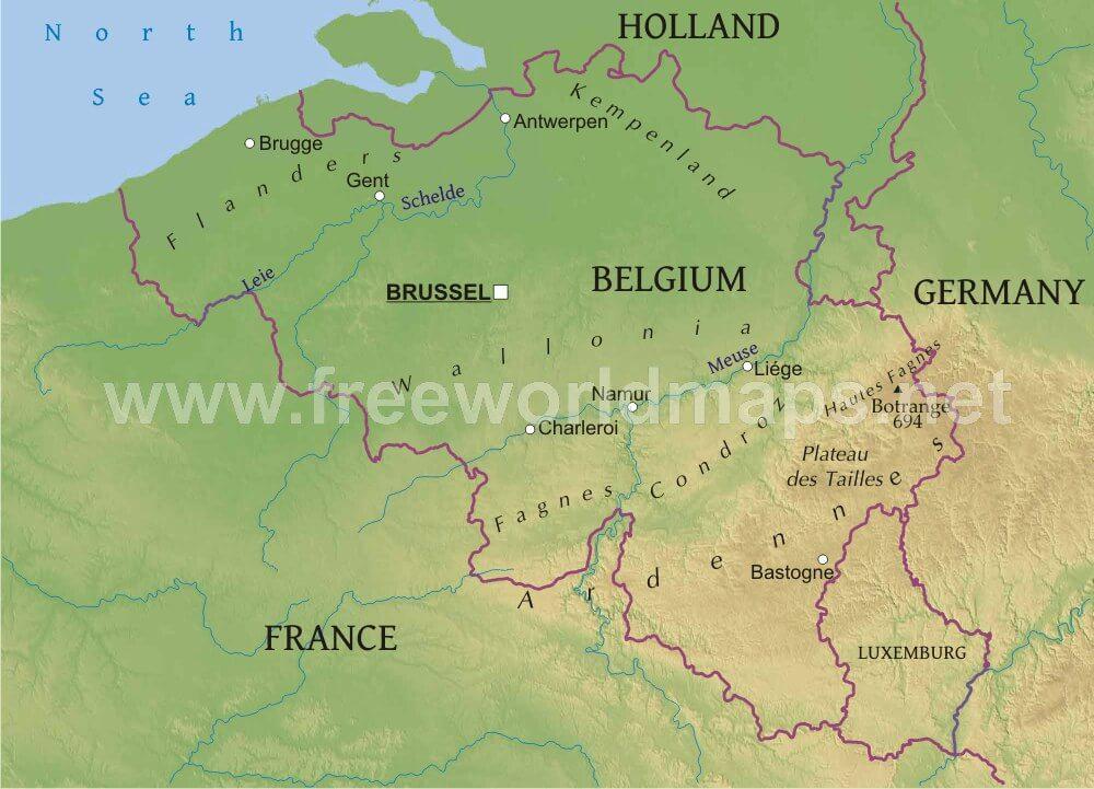 Belgium Physical Map