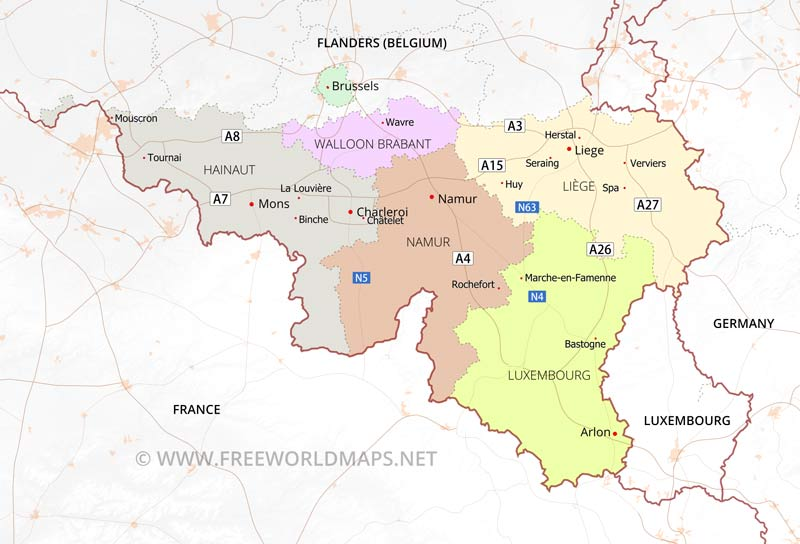 Valllonia kartta