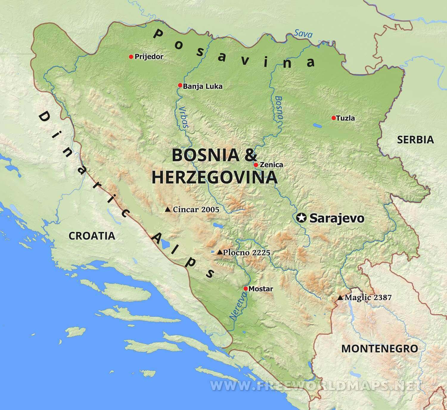 Bosnia On A Map Bosnia Physical Map