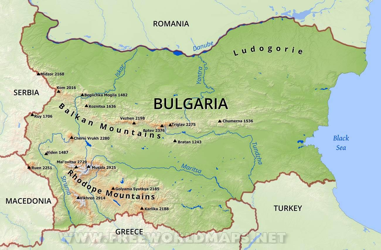 Balkan Mountains Map Bulgaria Physical Map