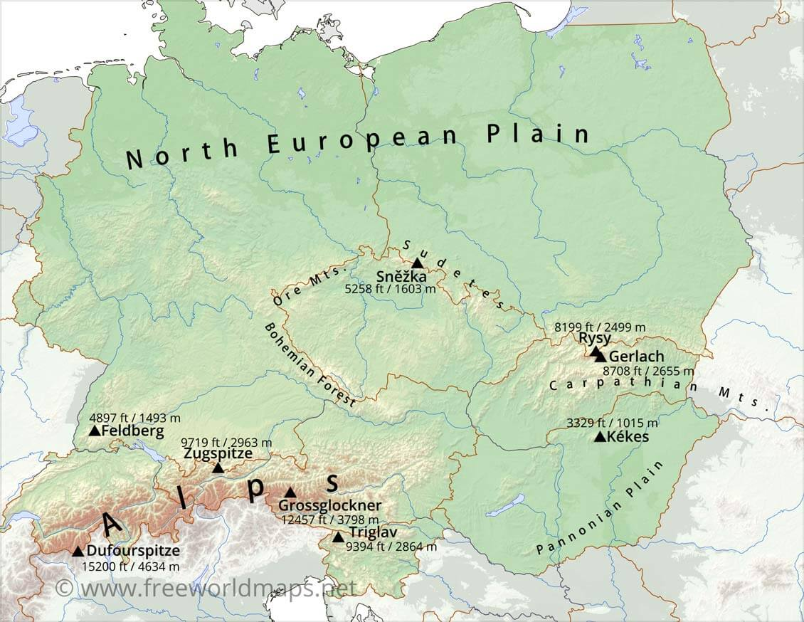Picture of: Central Europe Physical Map