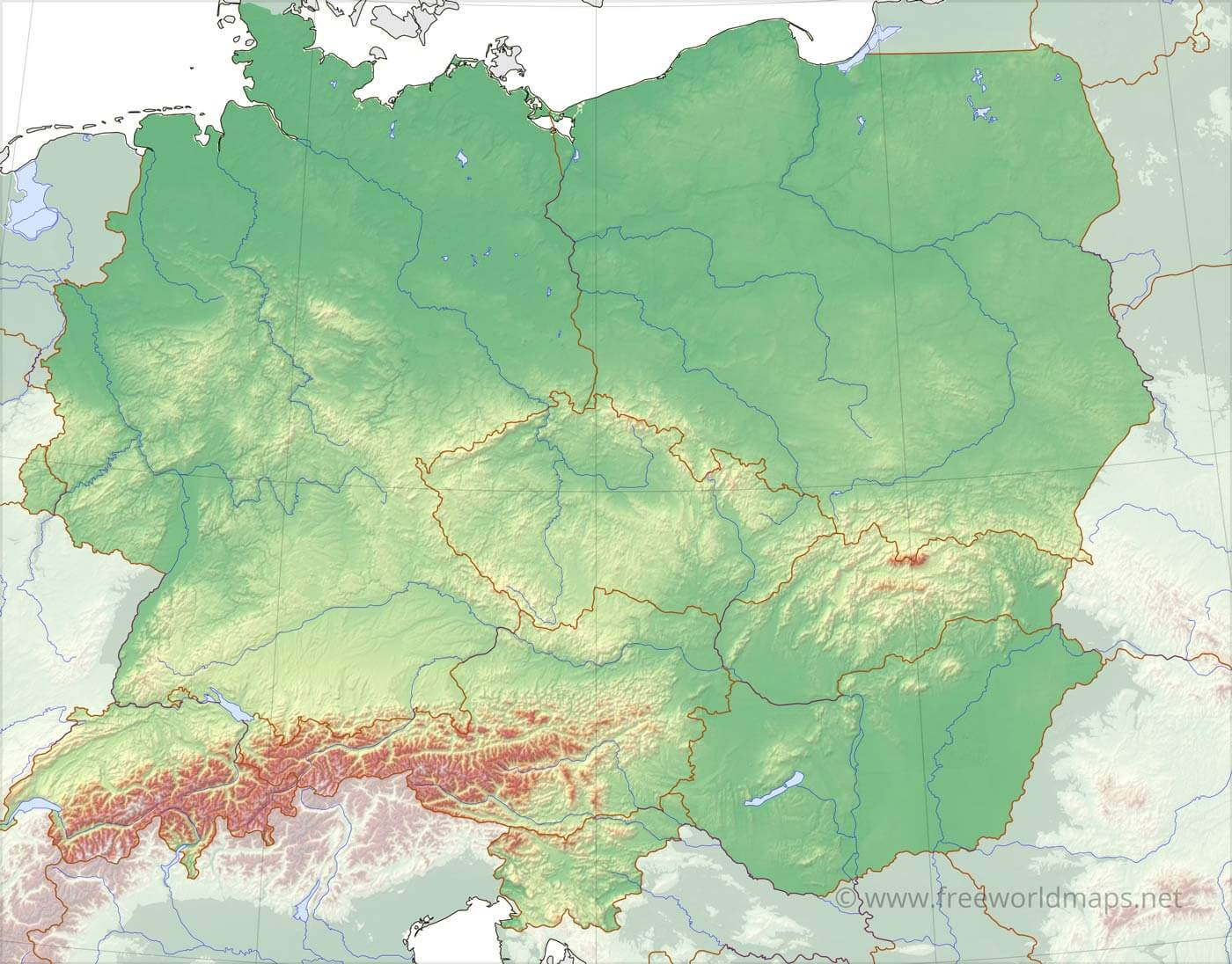 Image of: Central Europe Physical Map