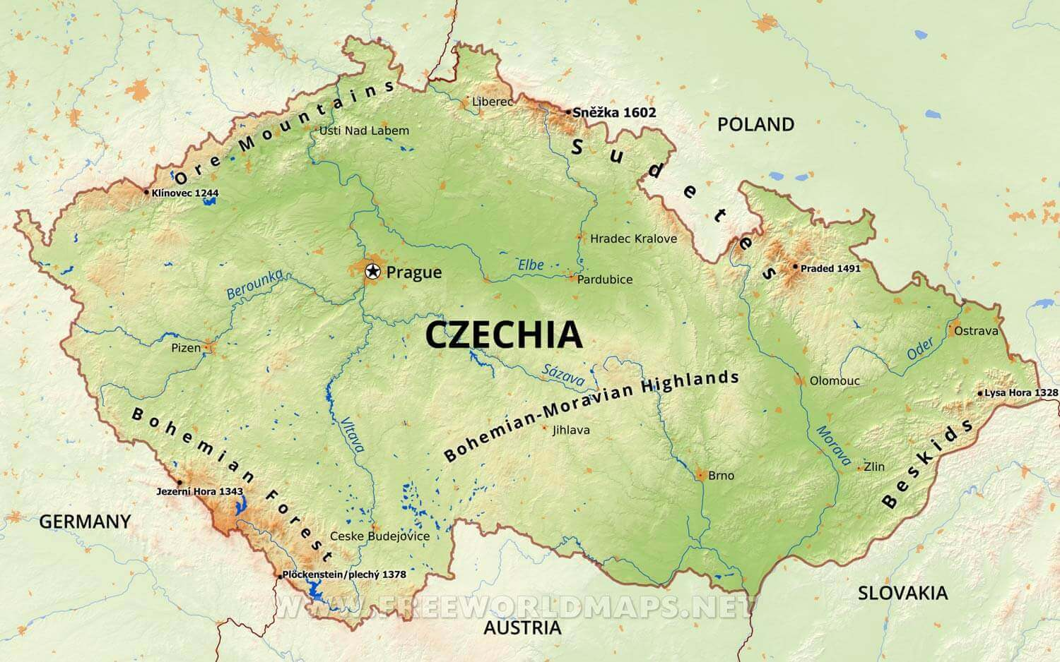 Picture of: Czechia Physical Map