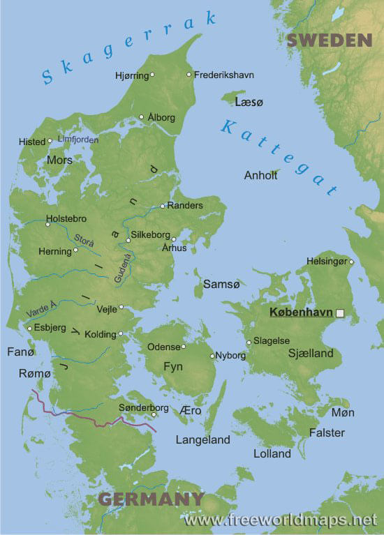 Denmark Physical Map