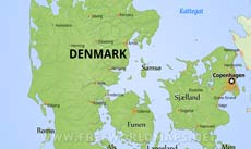 Where is Denmark located on the World map?