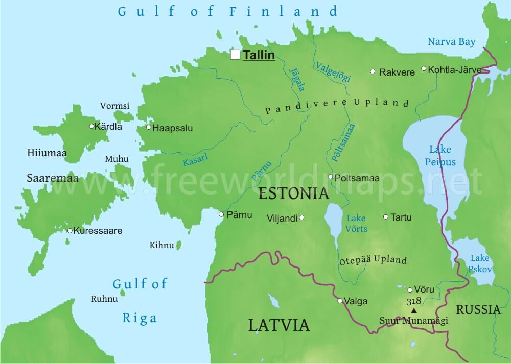 Estonia Physical Map
