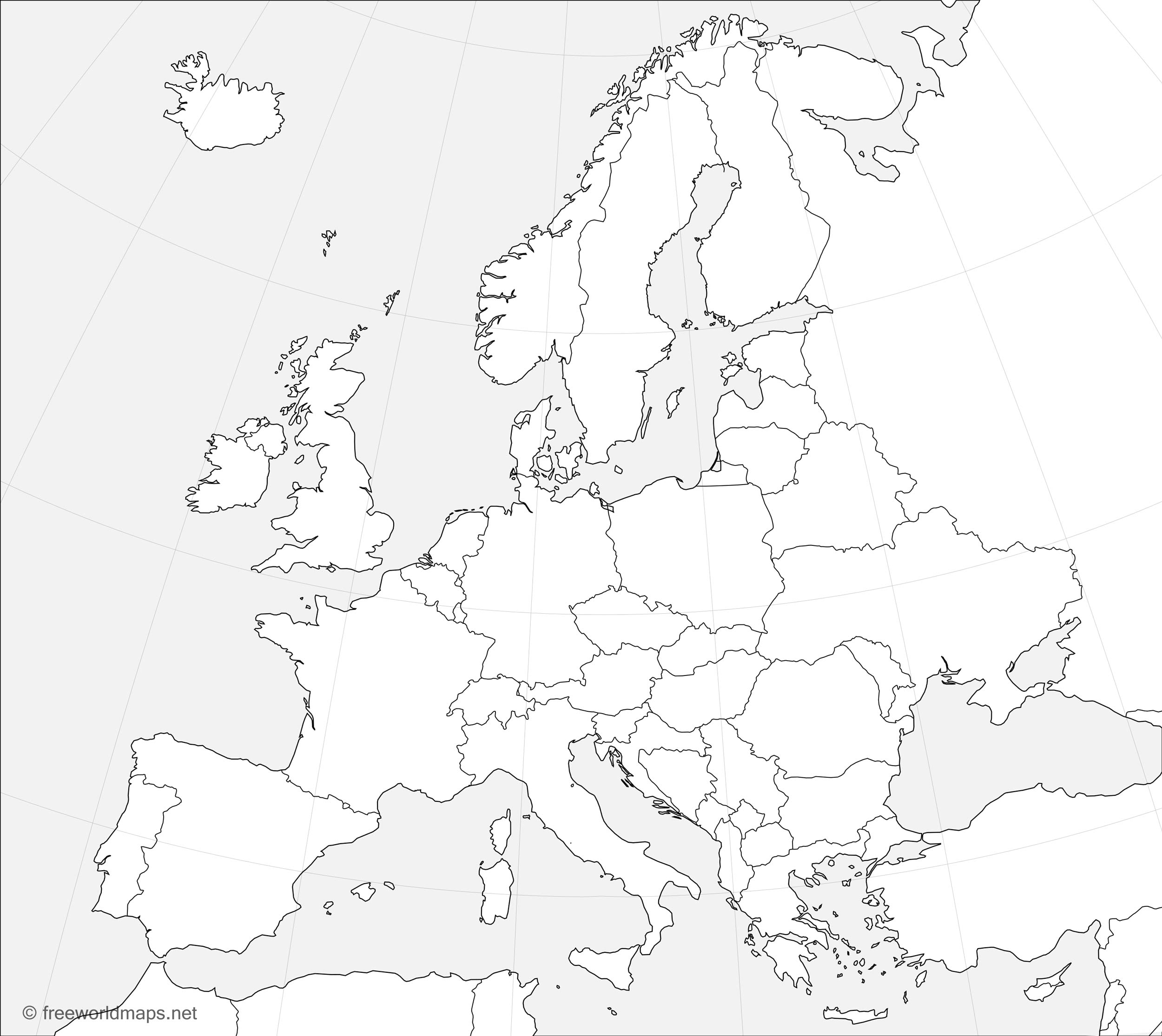 outline of europe map Europe Outline Maps   by FreeWorldMaps.net