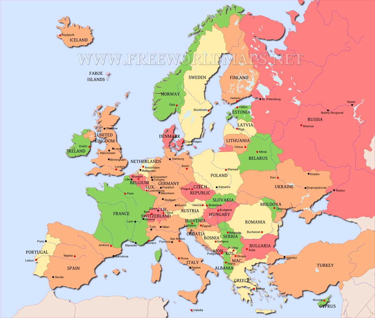 Europe Map editable