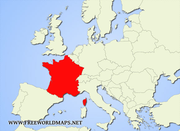 Map Of Europe With France Highlighted.Where Is France Located On The World Map