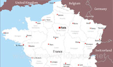 France On The Map Of Europe.Massif Central Physical Map