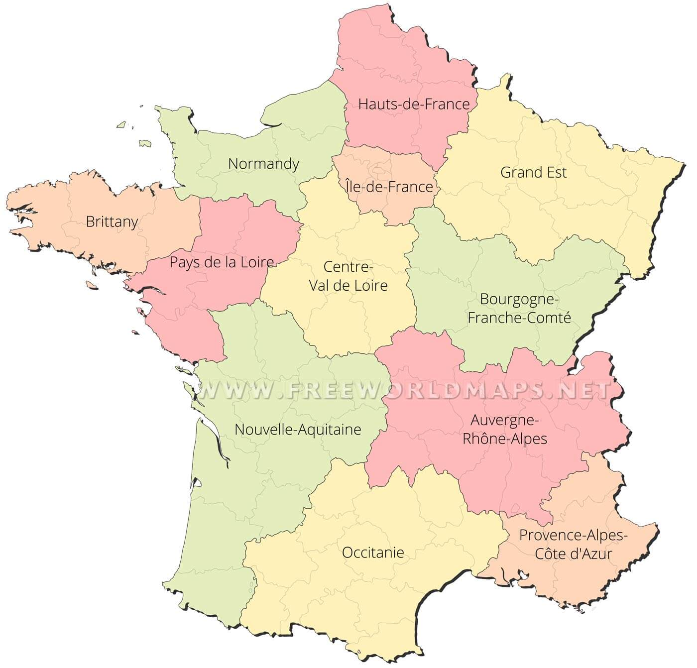 Outline Political Map Of France.France Political Map