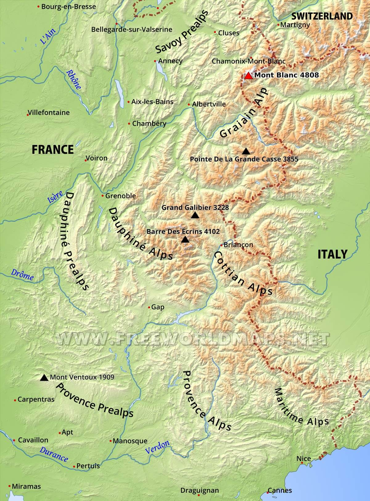 Map Of The Alps In France.French Alps Physical Map