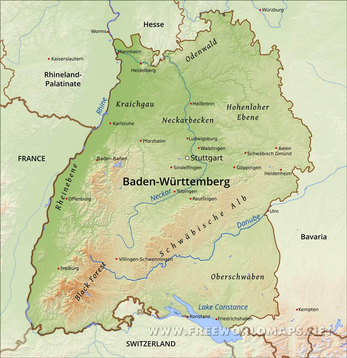 Map Of Germany Karlsruhe Baden.Baden Wurttemberg Physical Map