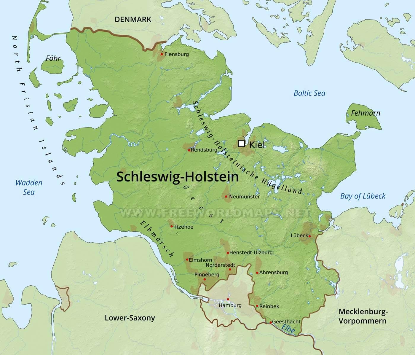 Schleswig-Holstein Physical Map