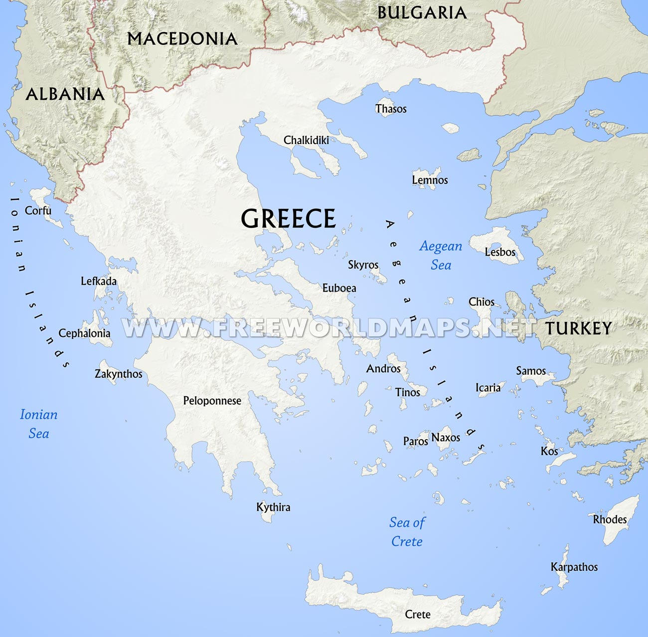 Greece Physical Map