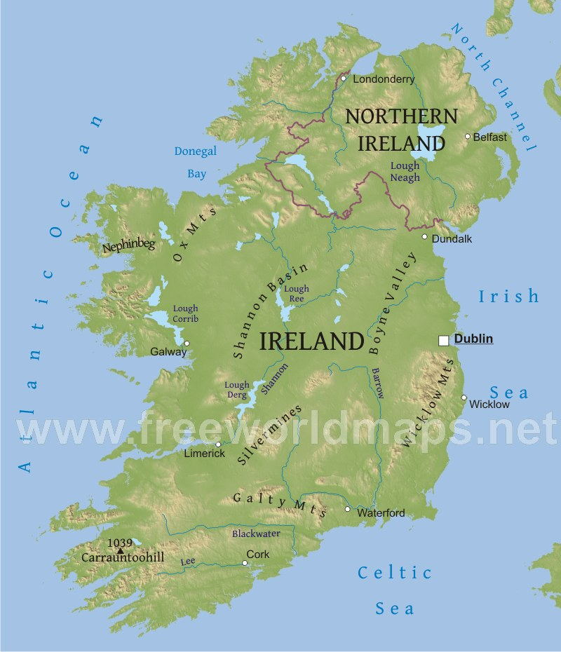 Dublin On Map Of Ireland.Ireland Physical Map