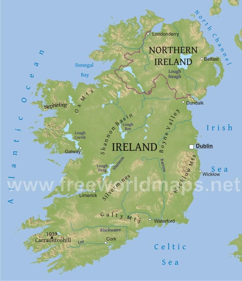 Physical Map Of Ireland.Ireland Physical Map