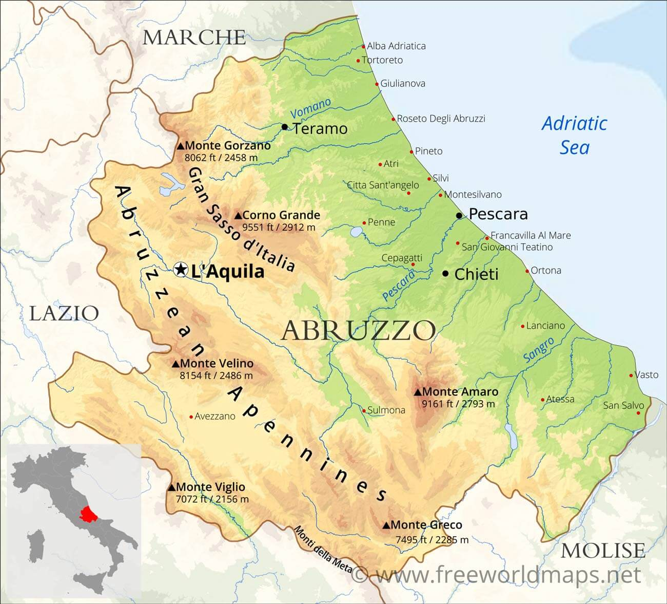 Picture of: Abruzzo Physical Map