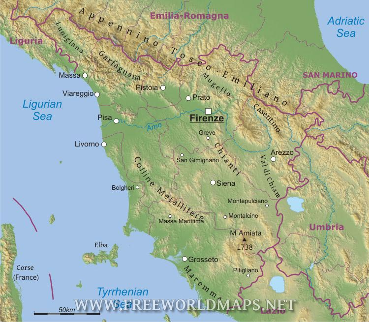 Map Of Tuscany In Italy.Tuscany Physical Map