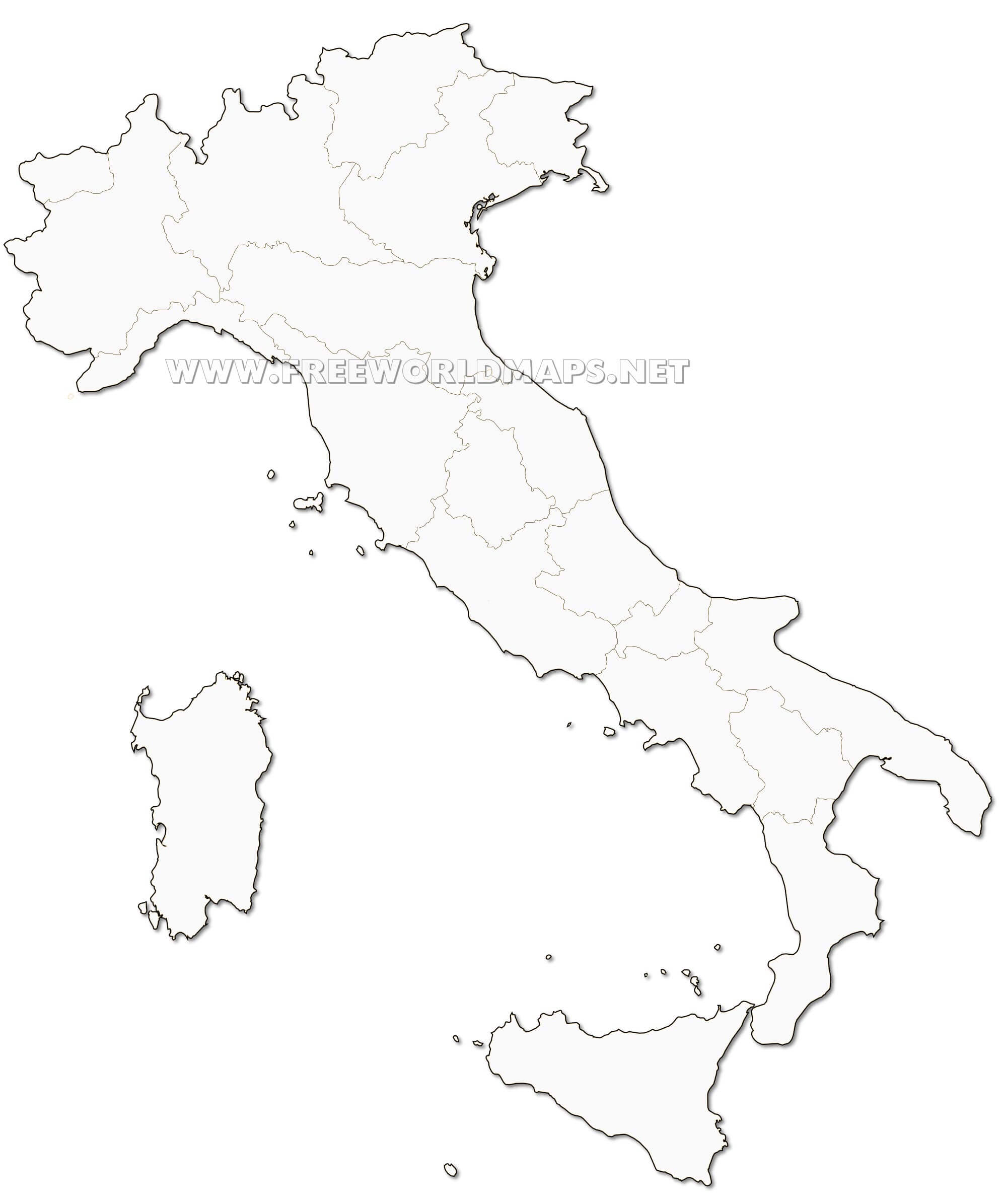 Black And White Map Of Italy.Italy Political Map