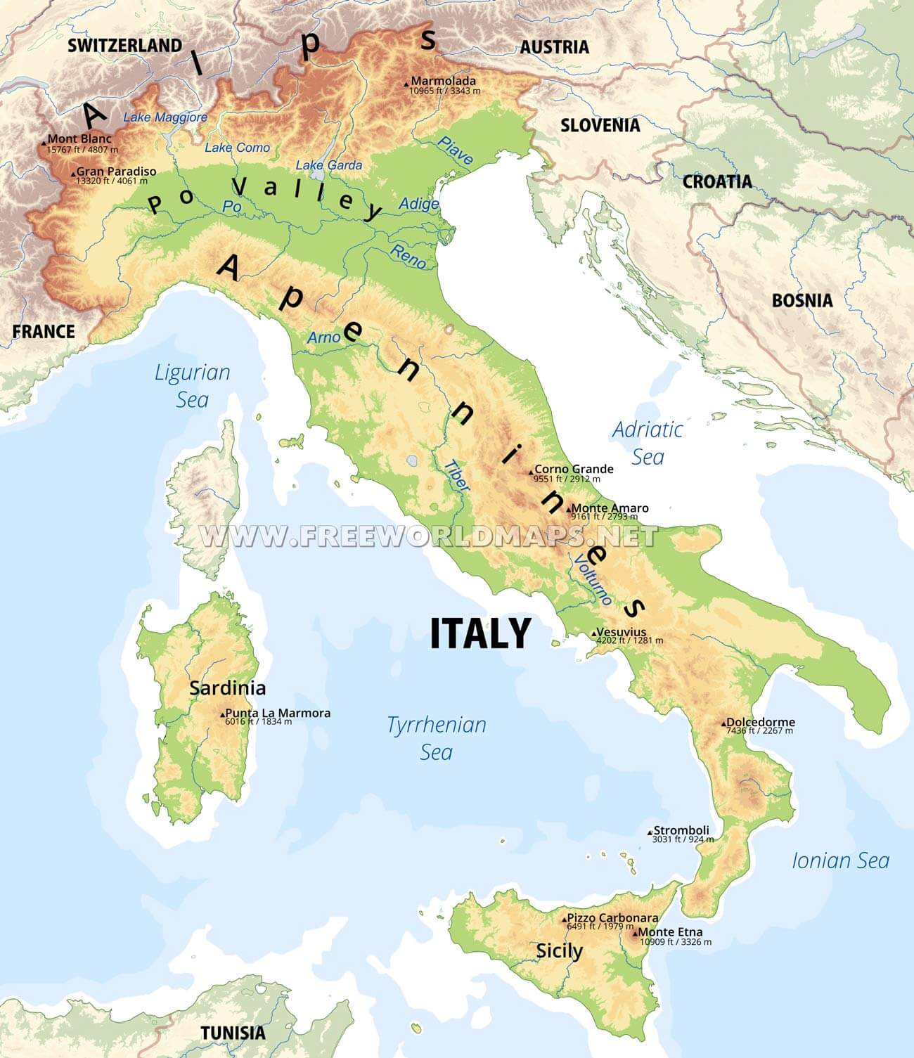 Free Printable Map Of Italy.Italy Physical Map
