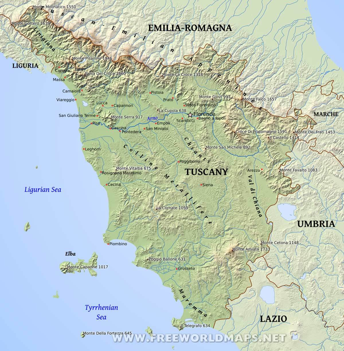 Tuscany Italy Map Of Area.Tuscany Physical Map