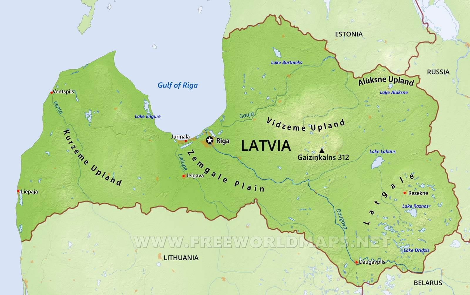 Picture of: Latvia Physical Map