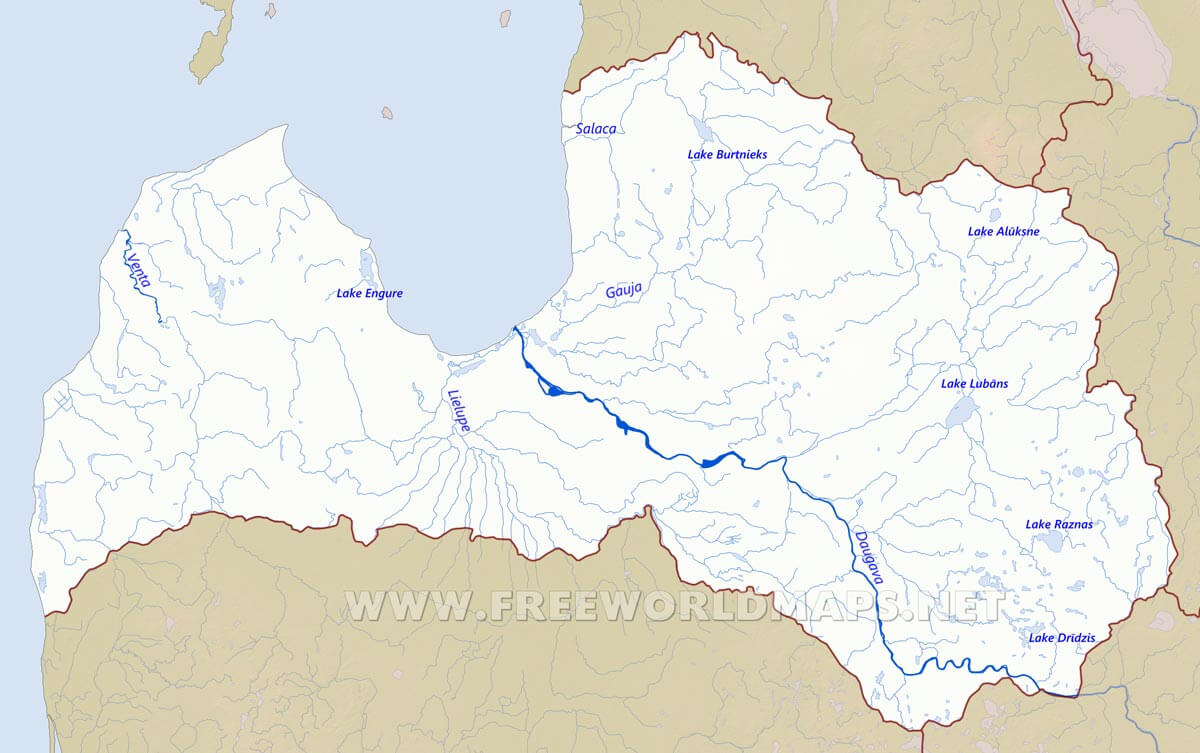 Latvia Physical Map
