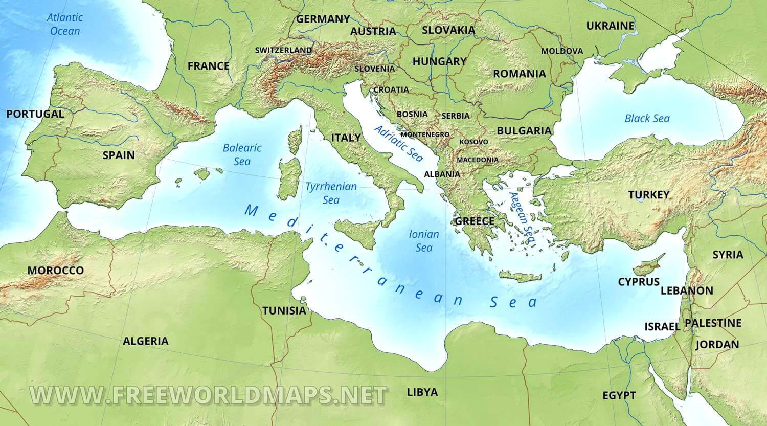 World Map Mediterranean Sea Mediterranean map