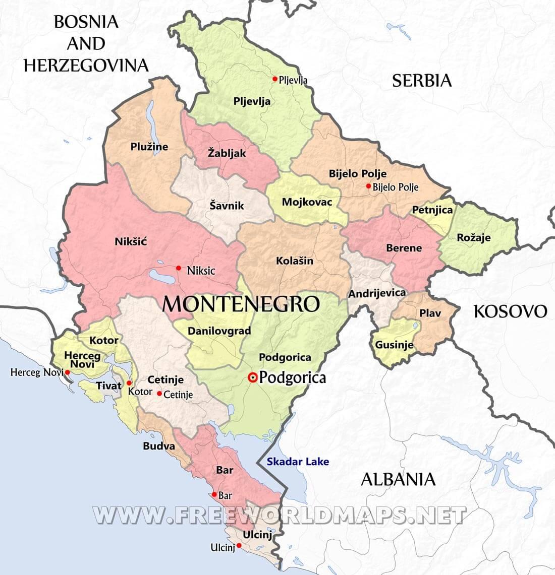 Europe Map Montenegro Montenegro Maps   by Freeworldmaps.net