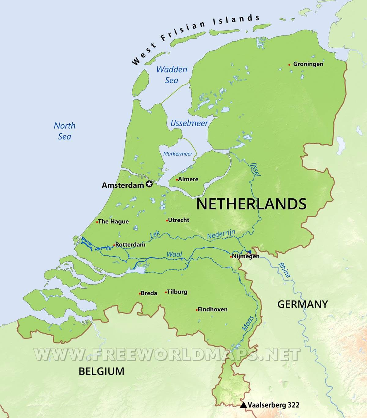Map Of The Netherlands And Germany.The Netherlands Physical Map
