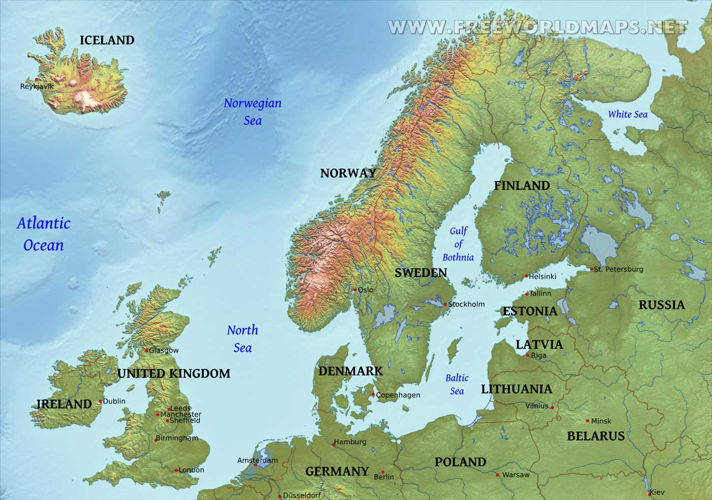 Image of: Northern Europe Physical Map