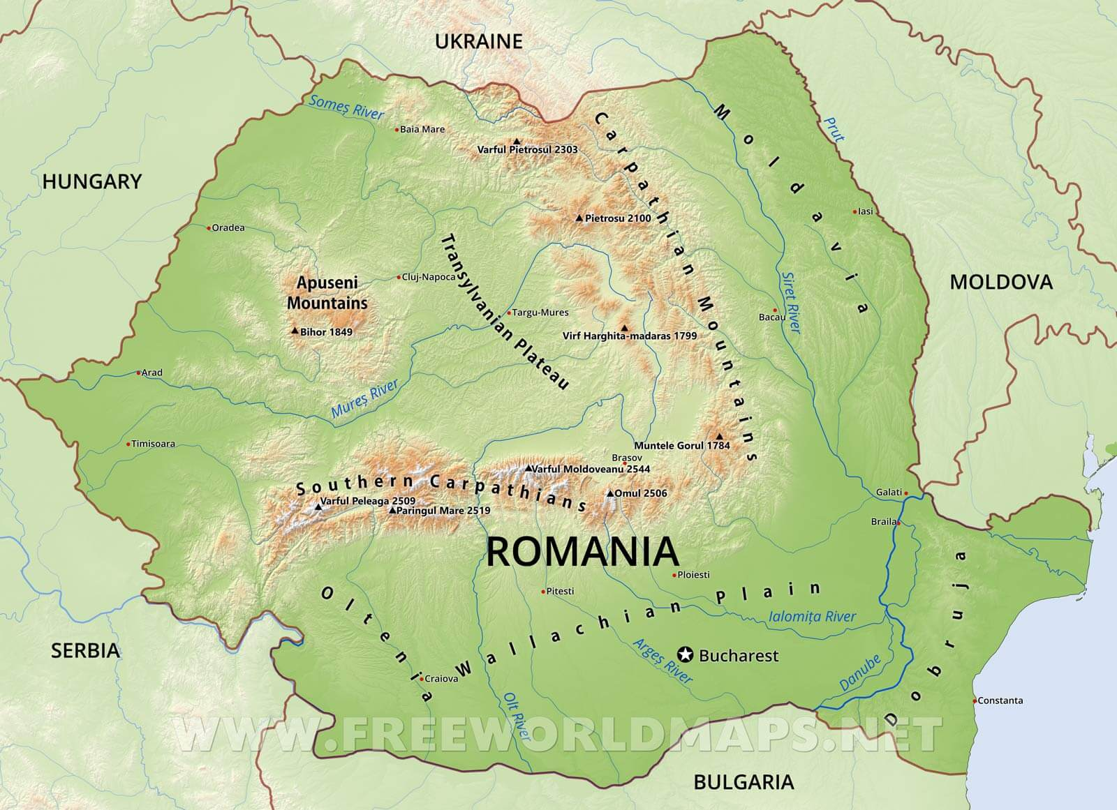 Romania Physical Map