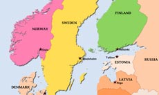Map Of Scandinavian Countries Physical Map of Scandinavia   Norway, Sweden, Finnland, Denmark