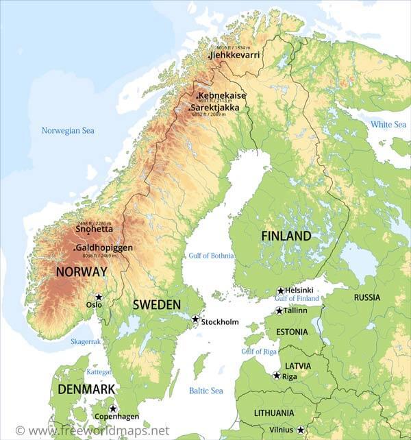 Physical Map of Scandinavia - Norway, Sweden, Finnland, Denmark, Iceland