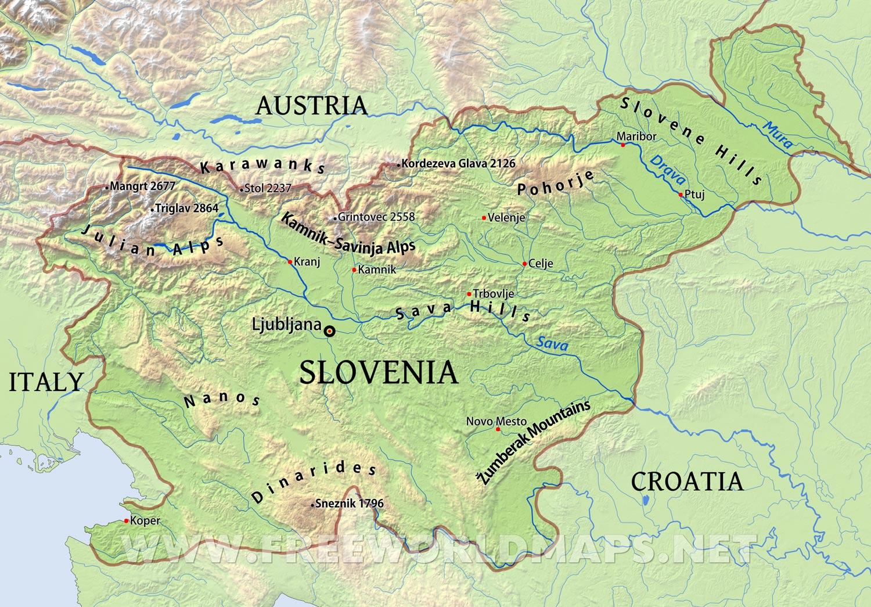 Map Of Slovenia Slovenia Physical Map