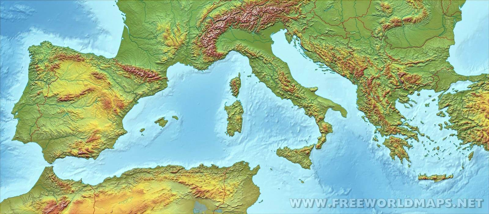 Southern Europe Physical Map