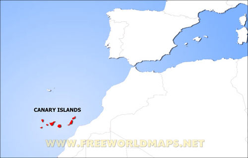 Canary Islands Physical Map on