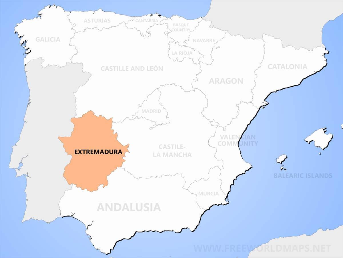 Map Of Spain Extremadura.Extremadura Maps
