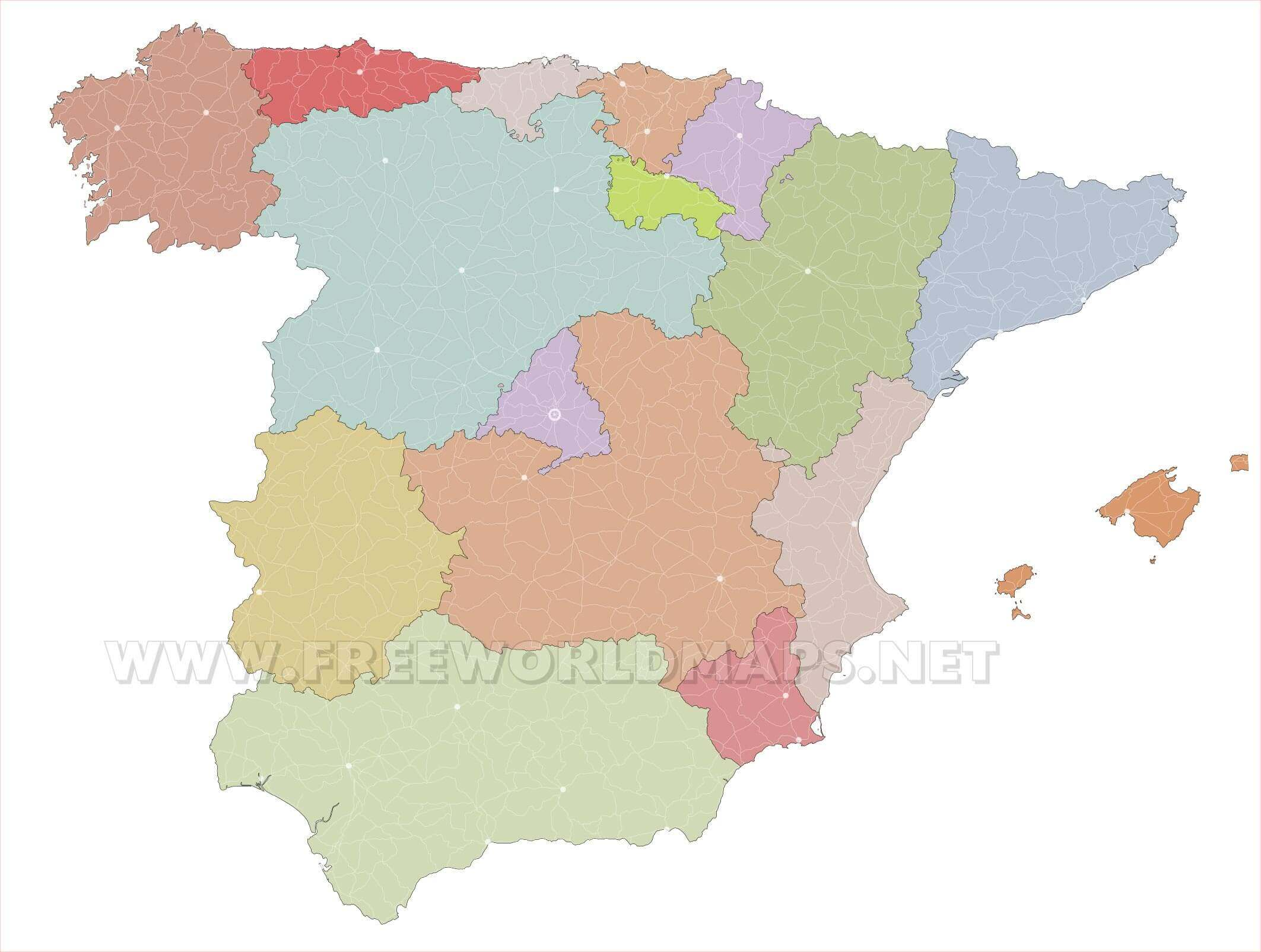 Map Of Spain Blank.Spain Political Map