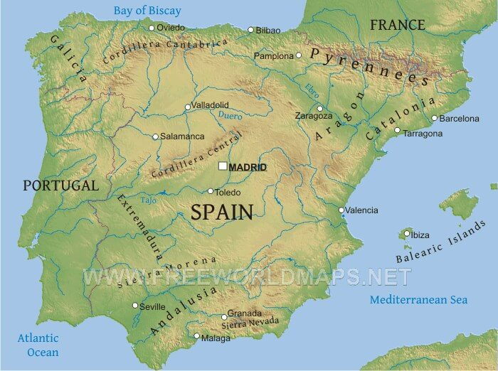 Map Of Spain Ebro River.Spain Physical Map