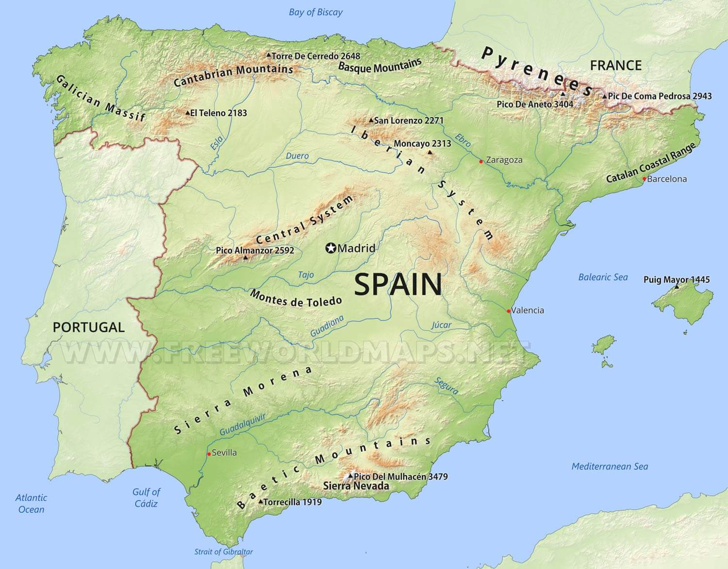 Map Of Spain And Europe.Spain Physical Map