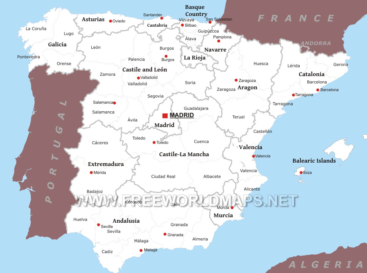 Image of: Spain Political Map