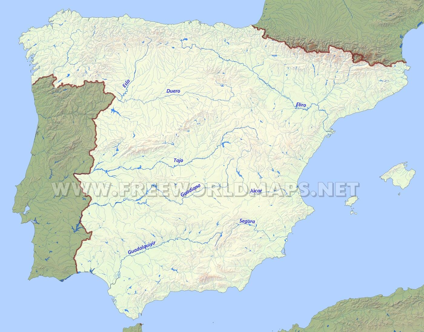 Map Of Spain Labeled.Spain Physical Map