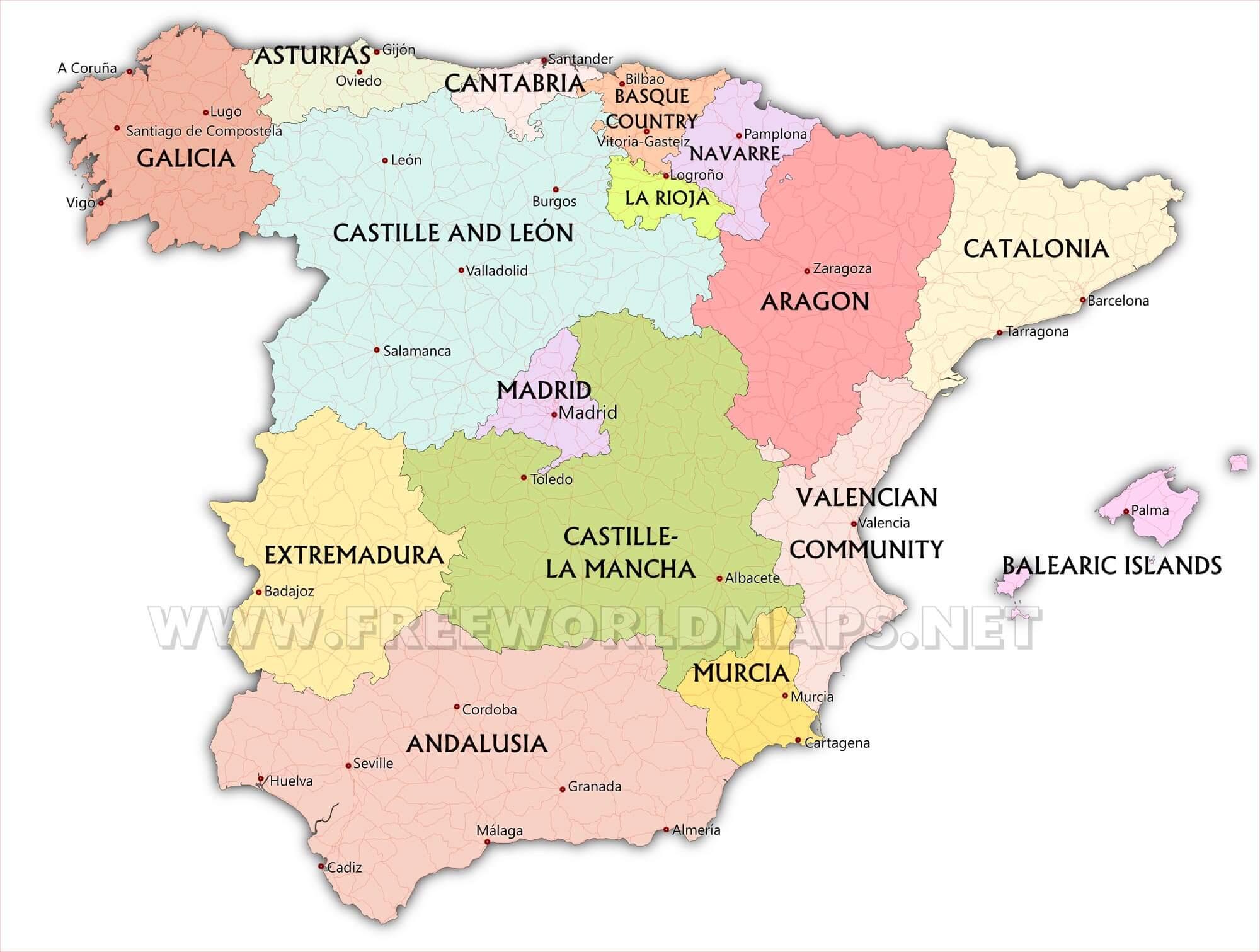 Map Of Spain Oviedo.Spain Maps By Freeworldmaps Net