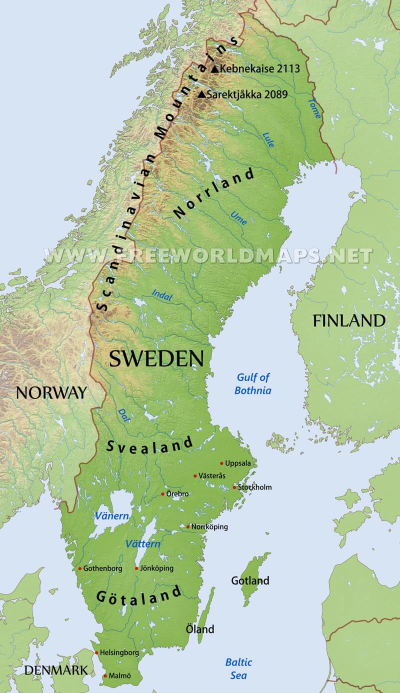 Map Of Sweden Sweden Physical Map Map Of Sweden