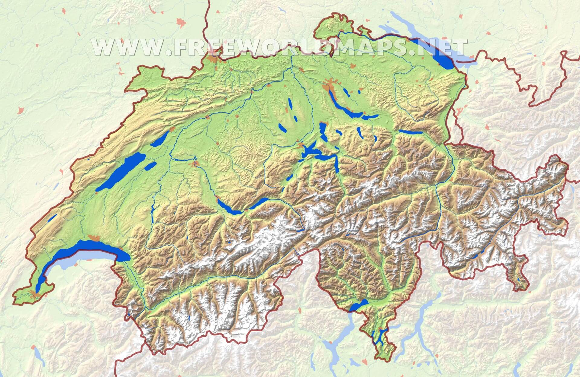 Picture of: Switzerland Physical Map