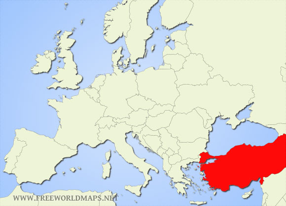 Where is Turkey located on the World map?